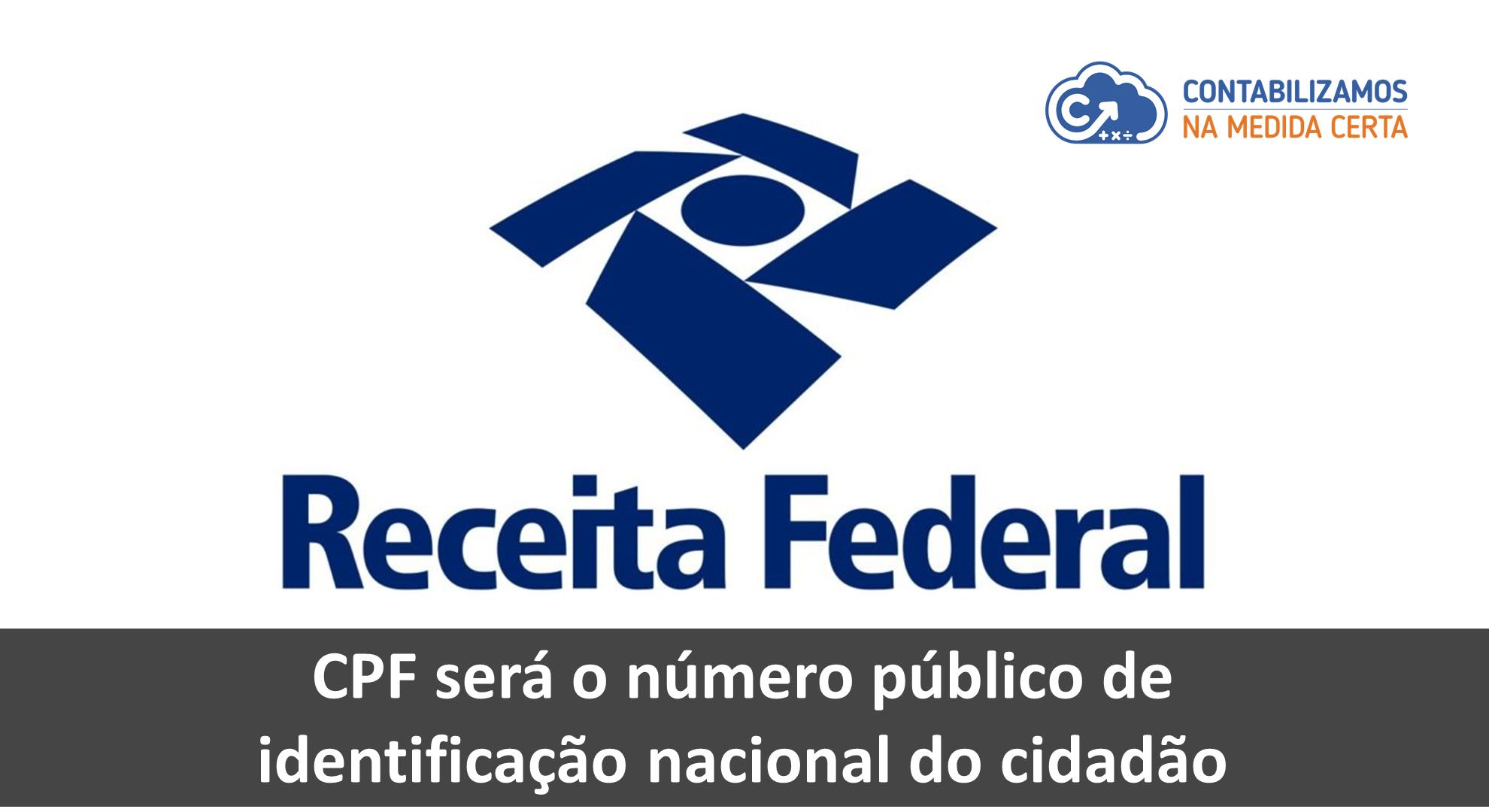 CPF Será O Número Público De Identificação Nacional Do Cidadão